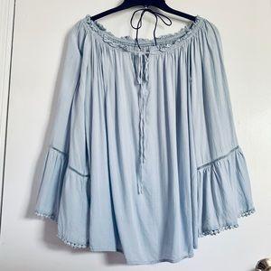SheIn off shoulder light blue flowy blouse